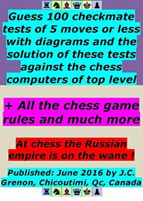 100 checkmate tets with 100 diagrams and the solution of the 100 checkmate tests: against the chess computers of top level. Also, contains all the rules of the chess game