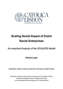 Scaling Social Impact of Dutch Social Enterprises  - An empirical Analysis of the SCALERS Model