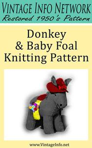Donkey & Baby Foal Knitting Pattern - Stuffed Donkey Pattern