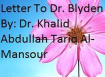 Letter To Dr. Blyden