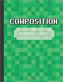 Composition:: Wide Ruled Writing Notebook For Boys and Girls, Green Pixel Electronic Book | Pattern Blank Lined Book 120 Pages (60 sheets)
